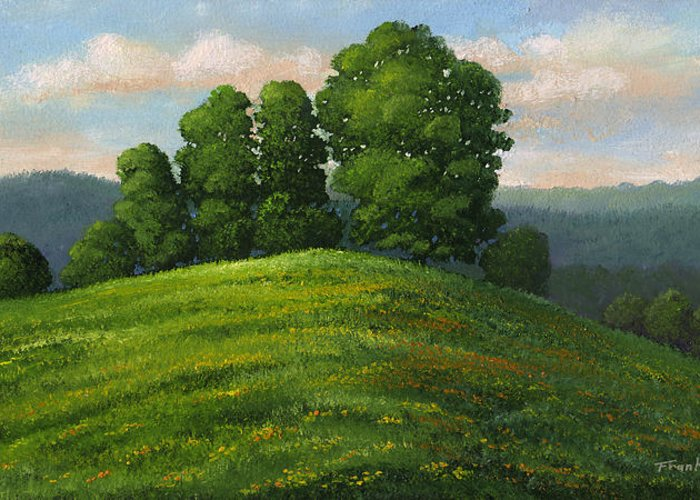 Landscape Greeting Card featuring the painting Toboggan Hill by Frank Wilson