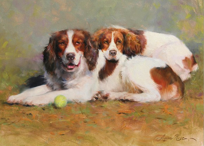 Dog With Tennis Ball Greeting Cards