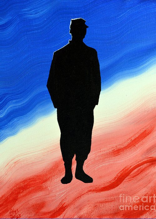 Us Military Greeting Card featuring the painting Today's Soldier by Alys Caviness-Gober