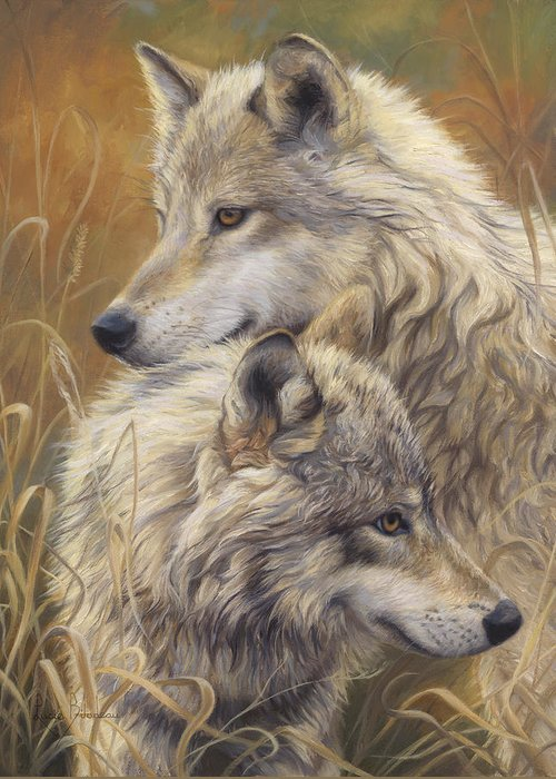 Wolf Greeting Card featuring the painting Together by Lucie Bilodeau