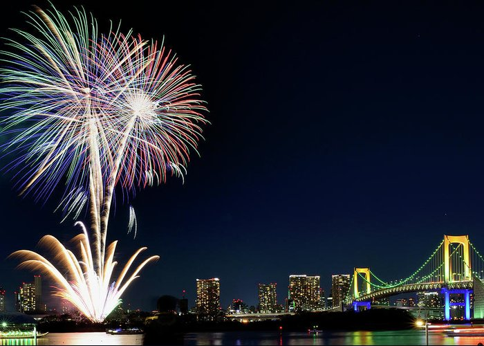 Firework Display Greeting Card featuring the photograph Tokyo Fireworks by Vladimir Zakharov