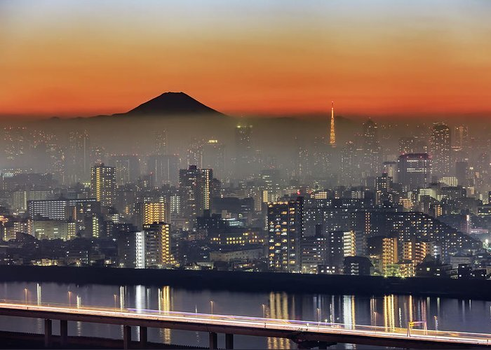 Tokyo Tower Greeting Card featuring the photograph Tokyo Mt Fuji Fog by Krzysztof Baranowski