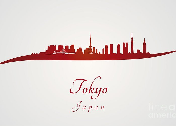 Tokyo Skyline Greeting Card featuring the digital art Tokyo Skyline In Red by Pablo Romero