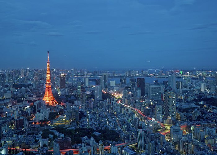 Tokyo Tower Greeting Card featuring the photograph Tokyo Skyline With Tokyo Tower Landmark by Yat Lee