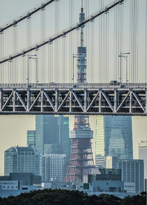 Tokyo Tower Greeting Card featuring the photograph Tokyo Tower And Rainbow Bridge by Image Courtesy Trevor Dobson