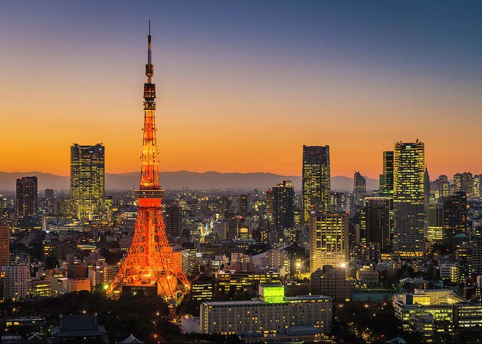 Tokyo Tower Greeting Card featuring the photograph Tokyo Tower Skyscrapers Neon Futuristic by Fotovoyager