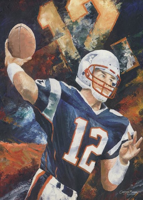 Football Greeting Card featuring the painting Tom Brady by Christiaan Bekker