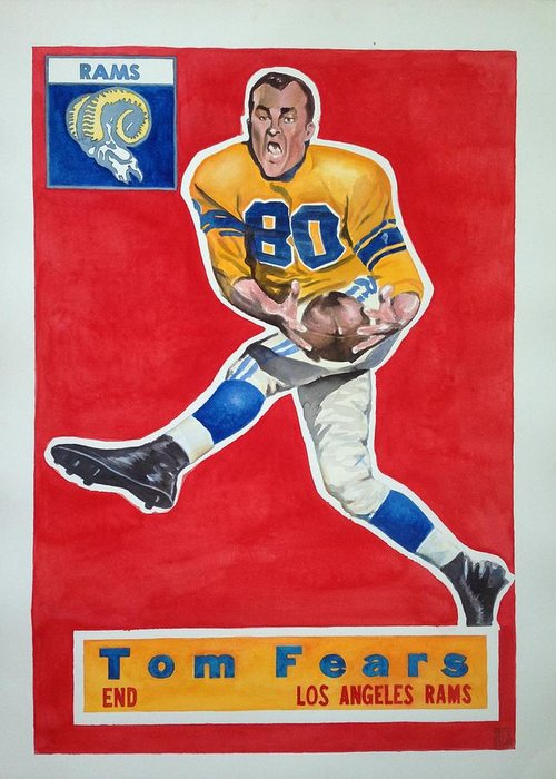 Los Angeles Rams Greeting Card featuring the painting Tom Fears by Robert Myers