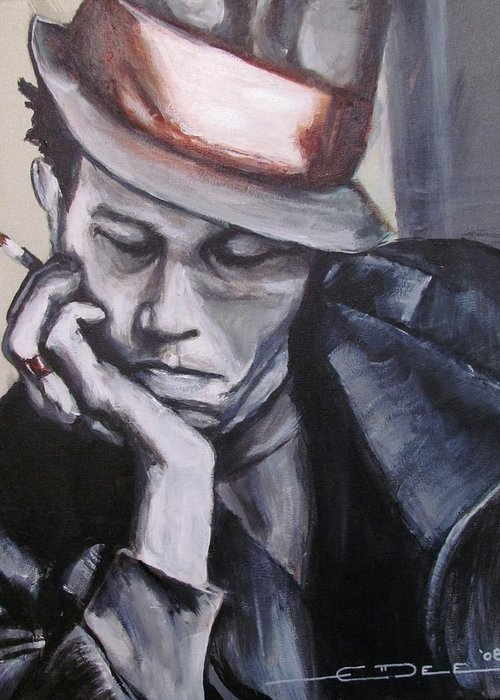 Celebrity Portraits Greeting Card featuring the painting Tom Waits One by Eric Dee