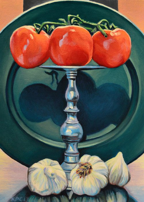 Still Life Greeting Card featuring the painting Tomato And Garlic by Kenneth Cobb