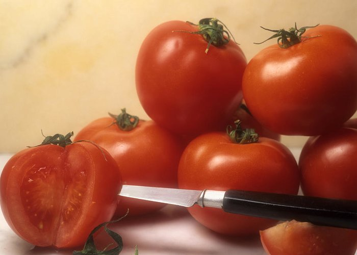 Cut Food Indoors Indoor Inside Knife Knives Nobody Nutrition Sharp Sliced Solanum Lycopersicum Greeting Card featuring the photograph Tomatoes And A Knife by Bernard Jaubert