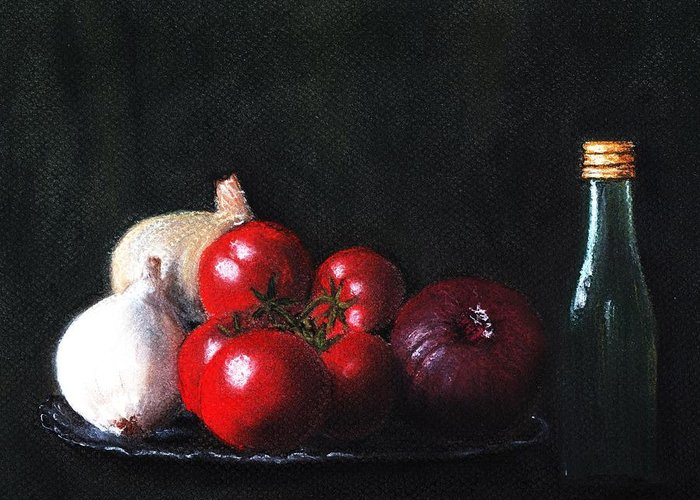 Dish Greeting Card featuring the painting Tomatoes And Onions by Anastasiya Malakhova