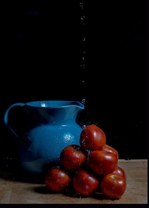 Still Life Greeting Card featuring the photograph Tomatoes And Pitcher by Theodore Lewis