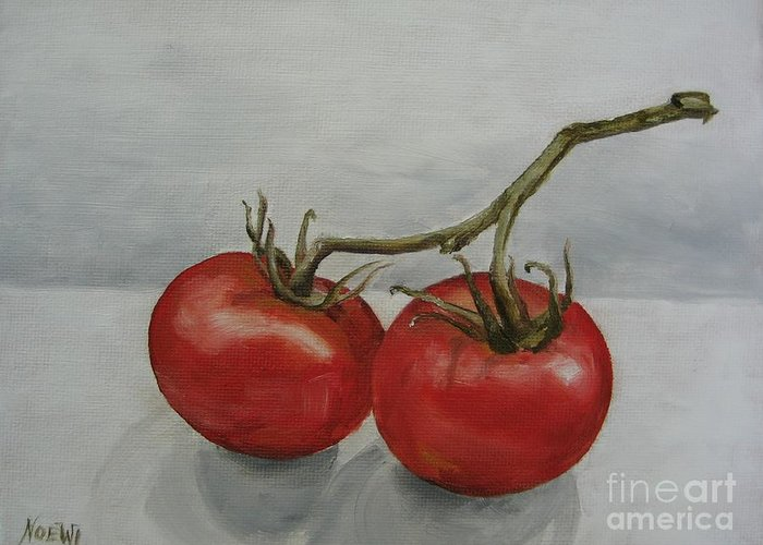 Oil Greeting Card featuring the painting Tomatoes On Vine by Jindra Noewi