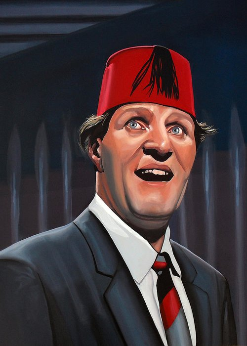 Tommy Cooper Greeting Card featuring the painting Tommy Cooper by Paul Meijering