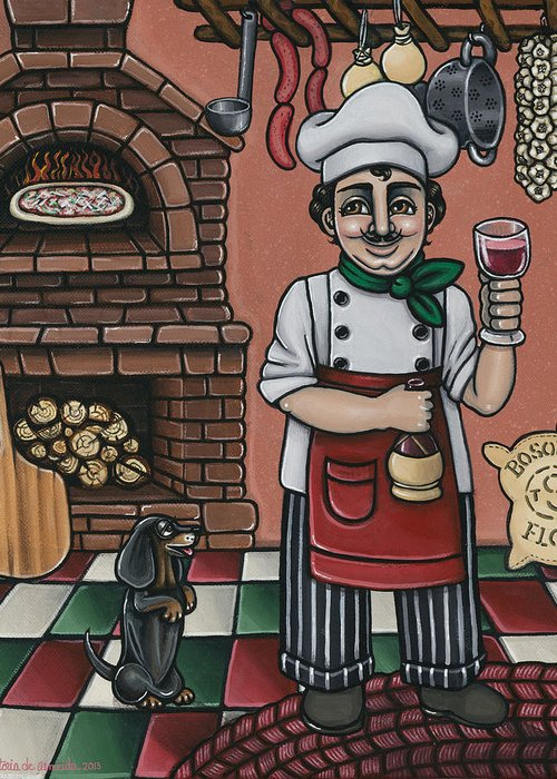 Italy Greeting Card featuring the painting Tommys Italian Kitchen by Victoria De Almeida