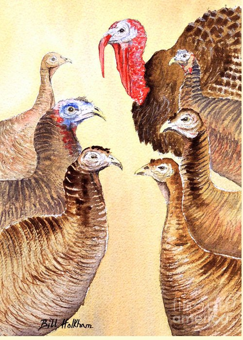 Wild Turkeys Greeting Card featuring the painting Tom's Parade by Bill Holkham