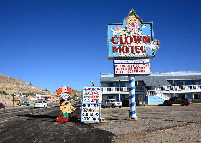 Tonopah nevada clown motel greeting card for sale by frank romeo america greeting card featuring the photograph tonopah nevada clown motel by frank romeo m4hsunfo