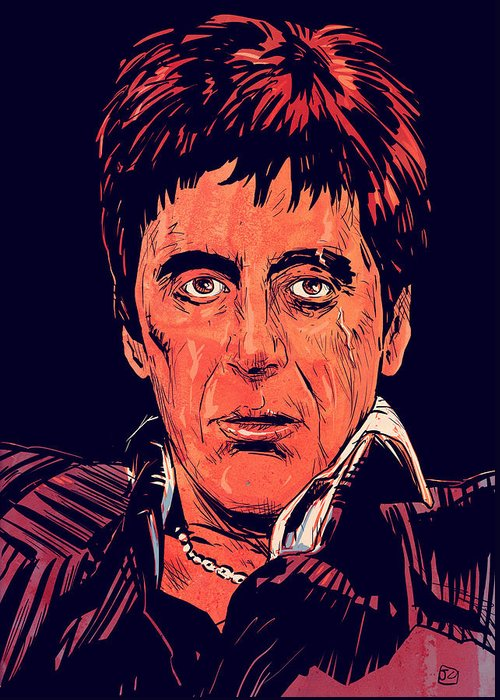 Al Pacino Greeting Card featuring the drawing Tony Montana by Giuseppe Cristiano
