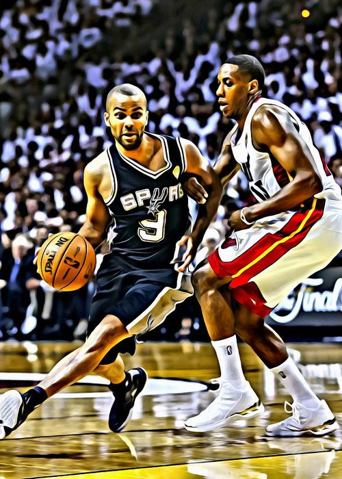 National Greeting Card featuring the painting Tony Parker Painting by Florian Rodarte
