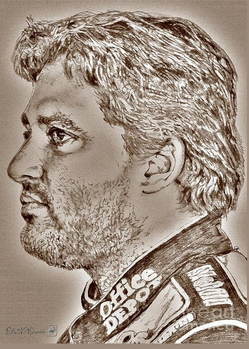 Tony Stewart Greeting Card featuring the digital art Tony Stewart In 2011 by J McCombie