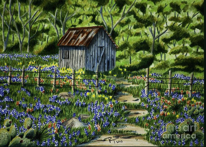 Landscape Greeting Card featuring the drawing Tool Shed by Robert Thornton