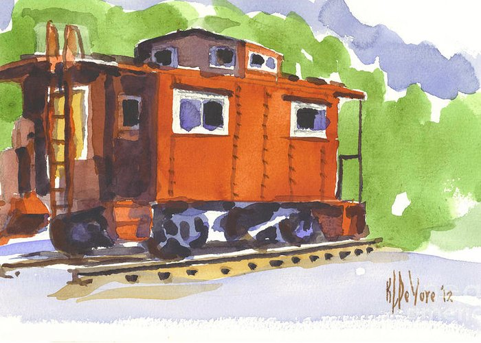 Toot Toot Greeting Card featuring the painting Toot Toot by Kip DeVore