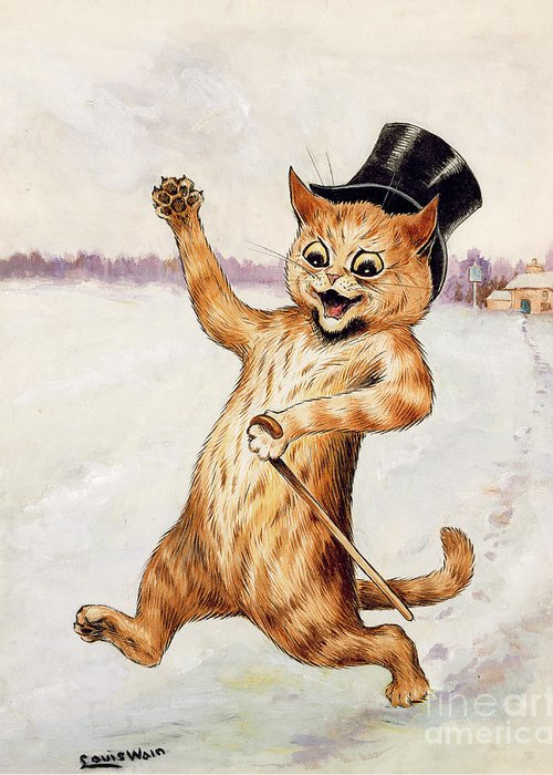 Frnk; Cat; Top Hat; Walking Stick; Foot Prints; Cartoon Greeting Card featuring the painting Top Cat by Louis Wain