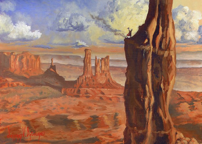 Navaho Greeting Card featuring the painting Top Of The Mountains by Jeff Brimley