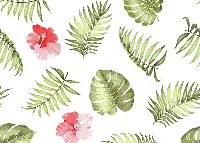 Tropical Rainforest Greeting Card featuring the digital art Topical Palm Leaves Pattern by Kotkoa