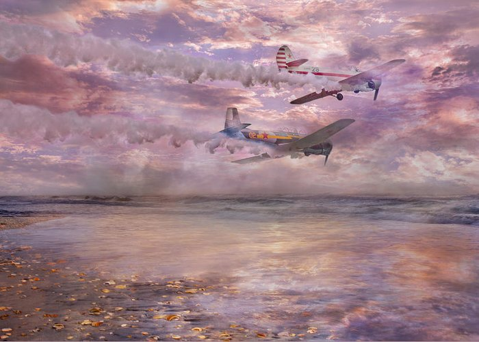 Beach Greeting Card featuring the digital art Topsail Flyers by Betsy Knapp