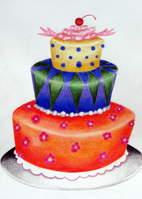 Food Greeting Card featuring the drawing Topsy Turvy Cake by Kori Vincent