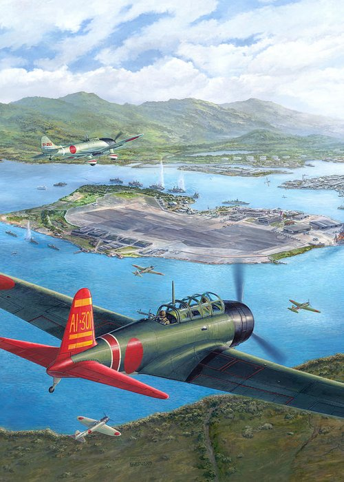 Pearl Harbor Greeting Card featuring the painting Tora Tora Tora The Attack On Pearl Harbor Begins by Stu Shepherd
