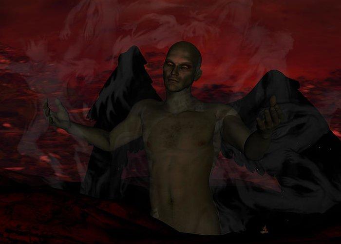Satan Greeting Card featuring the digital art Torment by Jean Gugliuzza