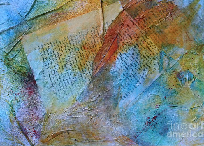 Mixed Media Greeting Card featuring the mixed media Torn Pages by Sandra Taylor-Hedges