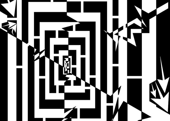 Spin Greeting Card featuring the drawing Torn Worm Hole Maze by Yonatan Frimer Maze Artist