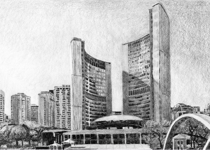 Cityscape Greeting Card featuring the drawing Toronto City Hall I Study by Duane Gordon