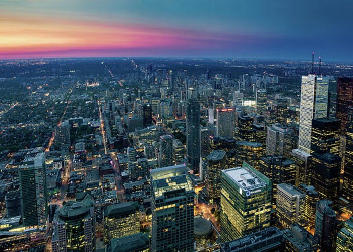 Downtown District Greeting Card featuring the photograph Toronto Downtown City At Night by D3sign