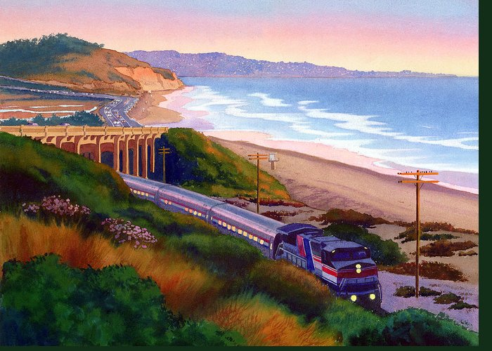 Torrey Pines Greeting Card featuring the painting Torrey Pines Commute by Mary Helmreich