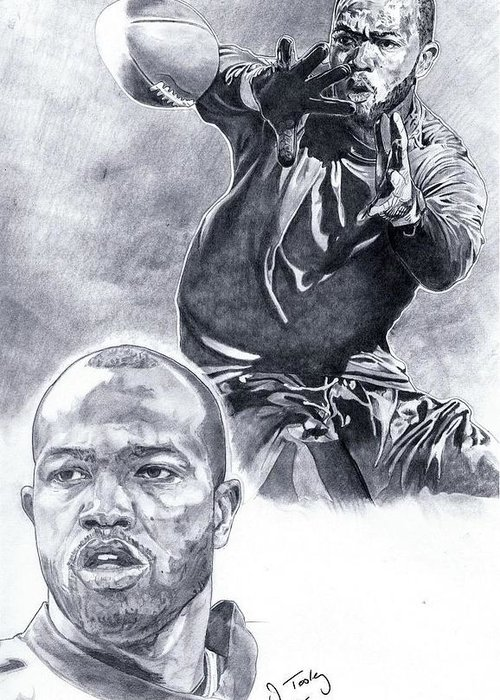 Torry Holt Greeting Card featuring the drawing Torry Holt by Jonathan Tooley