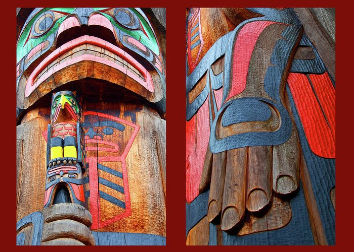 Native American Greeting Card featuring the photograph Totem 2 by Theresa Tahara