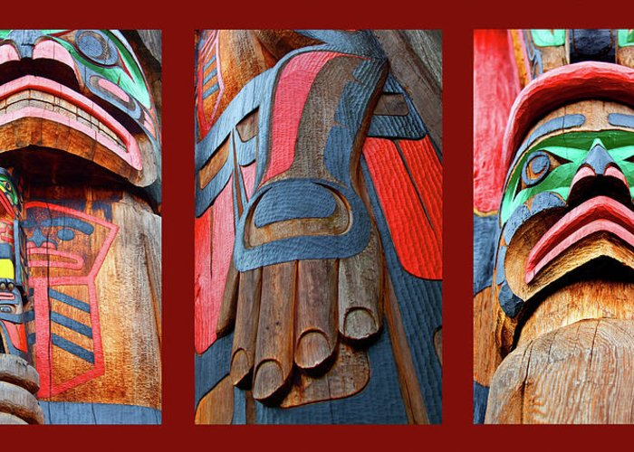 Native American Greeting Card featuring the photograph Totem 3 by Theresa Tahara