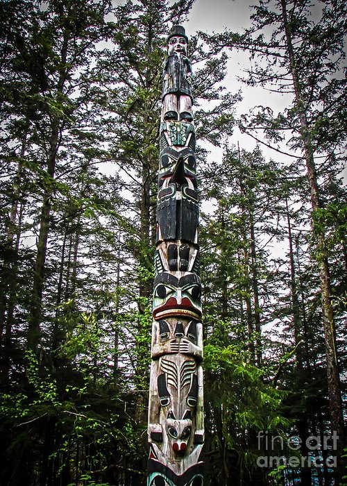Totems Greeting Card featuring the photograph Totem Pole Of Southeast Alaska by Robert Bales