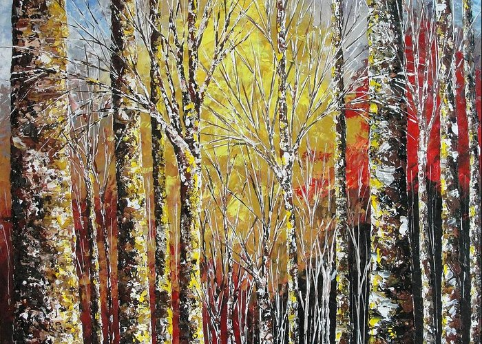 Birches Greeting Card featuring the painting Touch Of Gold by Shilpi Singh