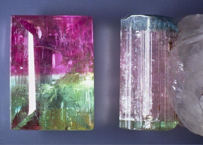 Tourmaline Greeting Card featuring the photograph Tourmaline Crystal Specimens by Science Photo Library