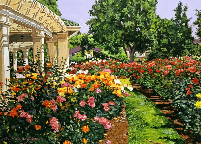 Roses Greeting Card featuring the painting Tournament Of Roses II by David Lloyd Glover