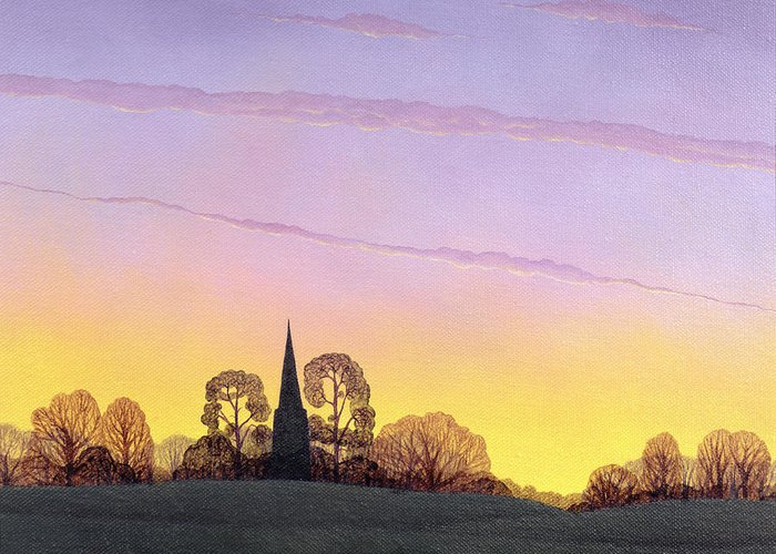 Church; Spire; Sunset; Dusk; Evening; Silhouette; Tree; Trees; Landscape; Rural Greeting Card featuring the painting Towards Grandborough by Ann Brian