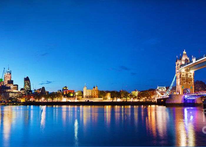 Tower Greeting Card featuring the photograph Tower Bridge In London Uk At Night by Michal Bednarek