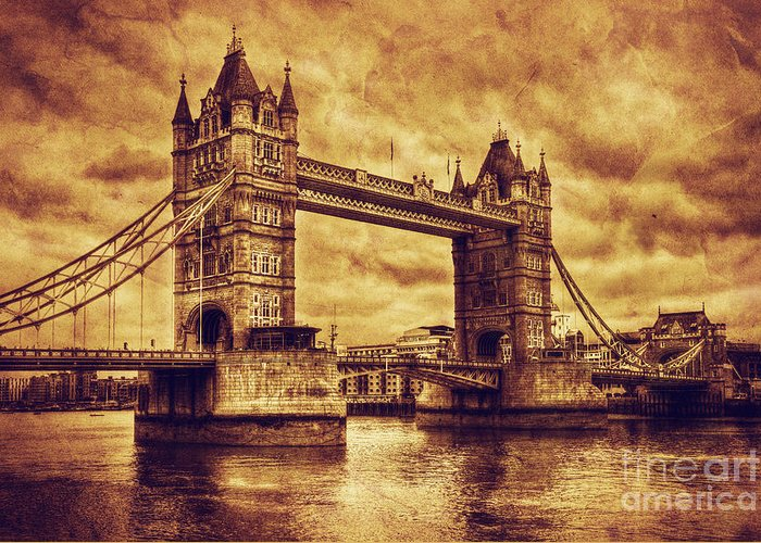 Tower Greeting Card featuring the photograph Tower Bridge In London Uk Vintage Style by Michal Bednarek