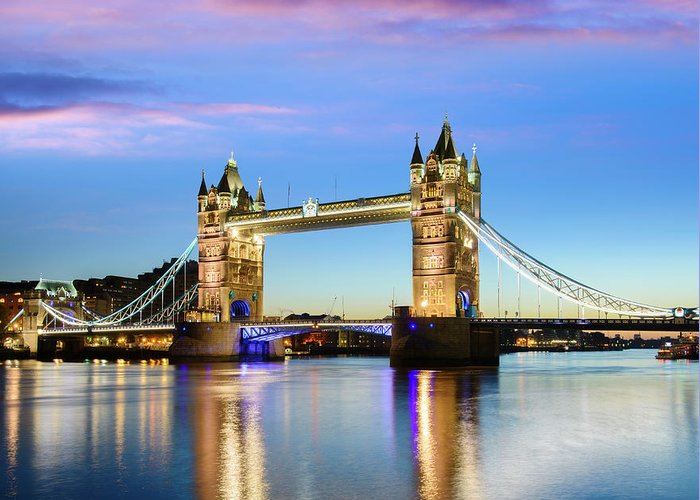 Downtown District Greeting Card featuring the photograph Tower Bridge Located In London by Deejpilot